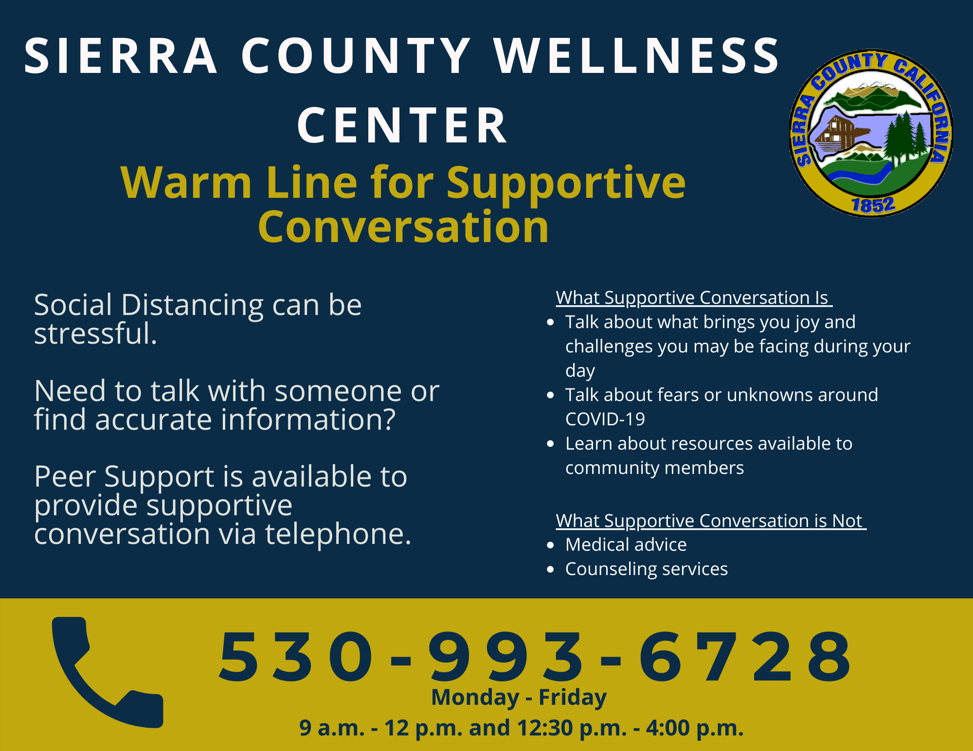 Sierra County Warm Line for Supportive Conversation