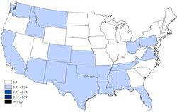 Statistical Map of U.S. West Nile Activity by State